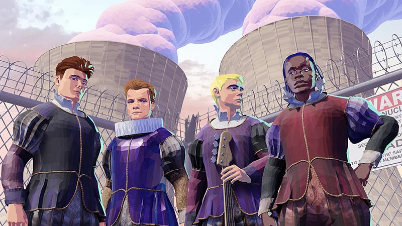 illustration 3D du groupe black midi composé de quatre hommes