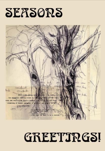 """Visuel d'une carte de voeux de Radiohead avec écrit """"Seasons Greetings"""" sur un fond beige. Une illustration en noir et blanc d'arbres morts est au milieu."""